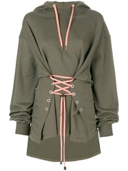 Versus Long Sleeved Corset Hoodie Cotton Polyester Green