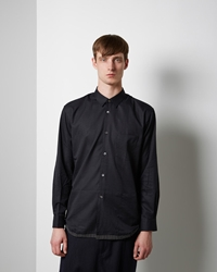 Comme Des Garcons Shirt Man Dot Trimmed Jacquard Shirt Black