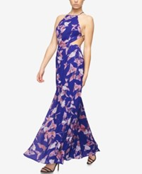Fame And Partners Printed Halter Dress With Thigh High Slit Midnight Petal