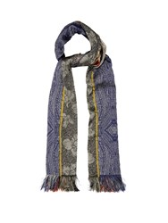 Etro Embroidered Patchwork Scarf Black Multi