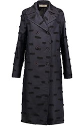 Nina Ricci Fil Coupe Silk Blend Coat Midnight Blue