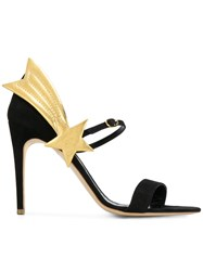 Rupert Sanderson Shooting Star Sandals Leather Nappa Leather Suede Black