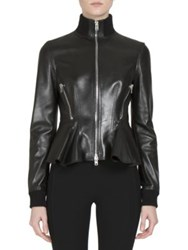 Givenchy Leather Zip Front Peplum Jacket Black
