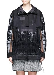 Sacai Embroidered Tribal Lace Drawstring Hooded Jacket Black