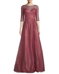 Rene Ruiz Metallic Sweetheart Illusion Gown Dark Pink