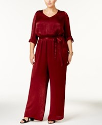 Love Squared Trendy Plus Size Satin Wide Leg Jumpsuit Red