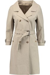 Michael Kors Collection Crinkled Cotton Blend Trench Coat Beige