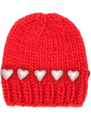 Aurelie Bidermann Heart Embellished Beanie Red