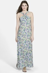 Nikki Rich Floral Print Crossover Maxi Dress Blue