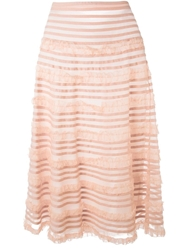 P.A.R.O.S.H. Sheer Striped Skirt Pink And Purple