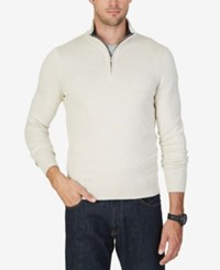 Nautica Men's Quarter Zip Sweater Oatmeal Heather