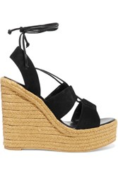 Saint Laurent Suede Espadrille Wedge Sandals Black