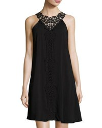 Neiman Marcus Crochet Yoke Woven Dress Onyx