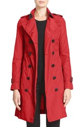Burberry Women's London 'Sandringham' Long Slim Trench Coat Parade Red