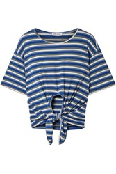 Opening Ceremony Tie Front Striped Ribbed Knit T Shirt Blue