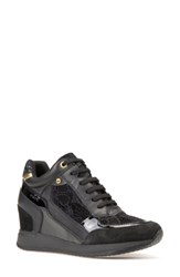 Geox Women's Nydame Wedge Sneaker Black Leather