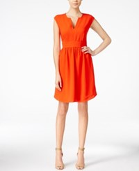 Maison Jules Cap Sleeve Split Neck Dress Only At Macy's Hot Coral