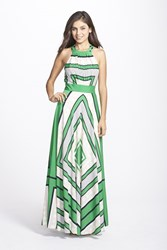 Women's Eliza J Scarf Print Crepe De Chine Fit And Flare Maxi Dress Green