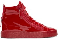 Giuseppe Zanotti Red Patent Leather London High Top Sneakers