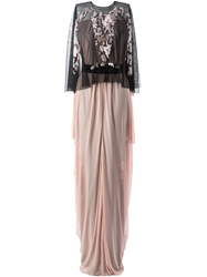 Marios Schwab Cape Gown Nude And Neutrals
