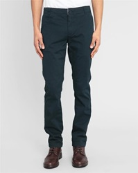 Knowledge Cotton Apparel Navy Stretch Chino Trousers