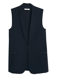 Mango Long Boyfriend Gilet Black