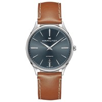 Hamilton H38525541 'S Jazzmaster Thinline Automatic Date Leather Strap Watch Tan Blue