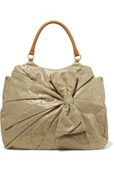 Red Valentino Redvalentino Leather Trimmed Metallic Canvas Tote Gold
