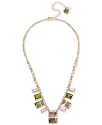 Betsey Johnson Gold Tone Pink In Green Cubic Zirconia Collar Necklace Multi