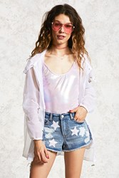 Forever 21 Sequin Star Distressed Shorts Denim Washed