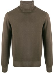 Dell'oglio Mastice Ribbed Roll Neck Jumper Brown