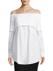 Dkny Off The Shoulder Shirt White