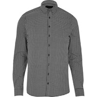 Vito River Island Mens Black Check Shirt