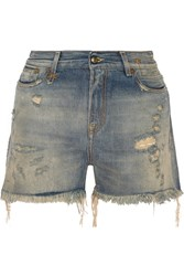 R 13 Shredded Slouch Distressed Denim Shorts Blue