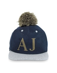 Armani Jeans Blue And Gray Wool Blend Pon Pon Baseball Hat Navy Blue