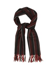 Saint Laurent Striped Wool Scarf Black Multi