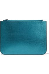 Iris And Ink Blake Metallic Textured Leather Pouch Teal