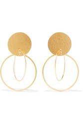 Annie Costello Brown Halo Gold Tone Earrings One Size