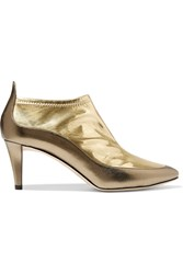 Jimmy Choo Dierdre Two Tone Metallic Pvc And Textured Leather Ankle Boots Gold