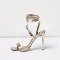 River Island Womens Gold Wide Fit Metallic Caged Strappy Sandals