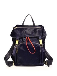 Del Toro Pony Hair Leather And Suede Backpack Navy