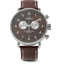 Shinola Canfield Chronograph 43Mm Stainless Steel And Leather Watch Brown