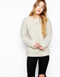 By Zoe Chunky Jumper In Mixed Yarn Ecru