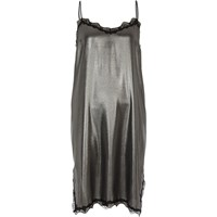 River Island Womens Silver Metallic Lace Trim Slip Dress