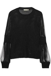 Bottega Veneta Metallic Crochet Knit And Chainmail Sweater Black
