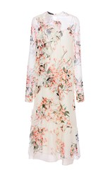 Rochas Long Sleeve Floral Dress White