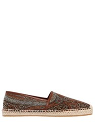 Etro Paisley Cotton Jacquard Espadrilles Brown