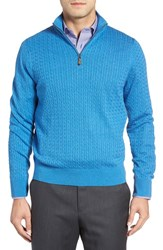 David Donahue Men's Cable Knit Silk Blend Quarter Zip Sweater Pool