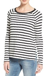 Caslonr Petite Women's Caslon Side Slit Sweatshirt Ivory Black Stripe
