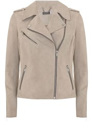 Mint Velvet Oyster Suede Multi Zip Biker Jacket Neutral